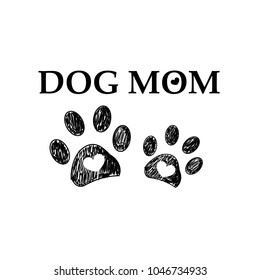 Black paw print with hearts. Dog mom text. Happy Mother's Day background