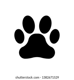 Black Paw print icon isolated. Dog or cat paw print. Animal track. Vector Illustration