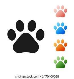 Black Paw print icon isolated on white background. Dog or cat paw print. Animal track. Set icons colorful. Vector Illustration