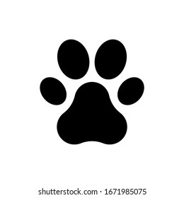 black paw print icon on white background. flat style. dog or cat paw print icon for your web site design, logo, app, UI. animal track symbol. foot and paw animal sign.