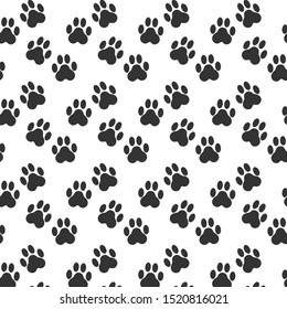 Black paw print on white background. Paw print pattern. Vector Illustration.