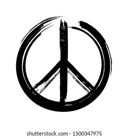 Black peace symbol created in grunge style. Vector illustration