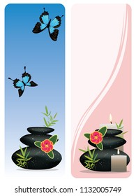 Black pebbles pile, zen stones heap with flower and bamboo banners on white background.