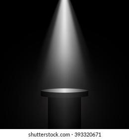Black pedestal. Stand. Tribune. Spotlight. Vector illustration.