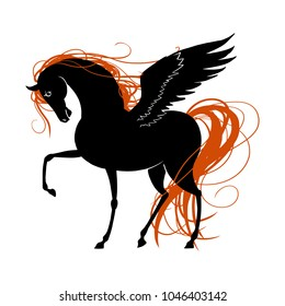 Black Pegasus Horse with red mane.. Vector illustration.