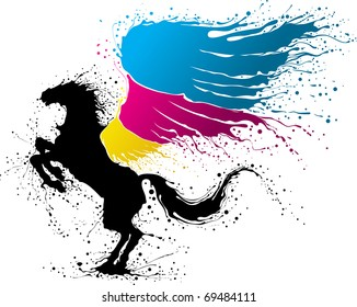 Black pegasus with wing in colors of CMYK