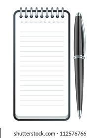 Black Pen and notepad icon. Vector illustration