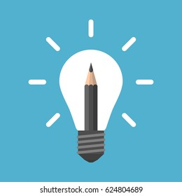 Black pencil in white glowing light bulb isolated on blue background. Creativity, education and solution concept. Flat design. Vector illustration. EPS 8, no transparency