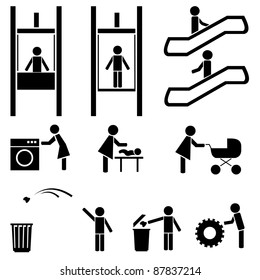 Black people icons vector set. Elevator, escalator. Cafe, pub, laundry. Mother and baby.