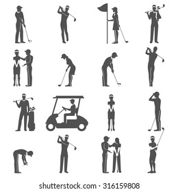 Black people playing golf game silhouettes icons set isolated vector illustration