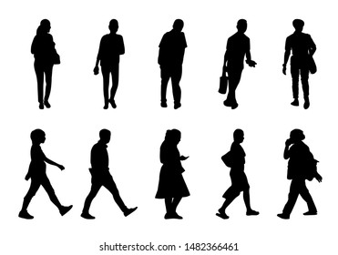 Black people walking collection on white background, Silhouette men and women vector set, Isolate shape group girl and boy, Shadow different human illustration