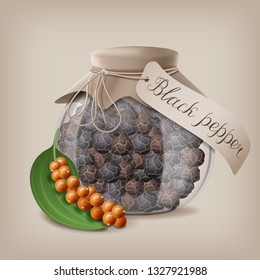 Black pepper in a glass jar for storage of loose spices. Vector illustration