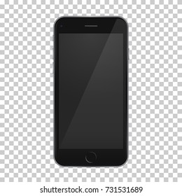 Black phone 8 template with reflection on empty screen  for any mobile design and application, on isolated background. High quality vector illustration.