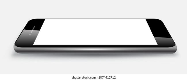 Black phone lie on the surface - stock vector