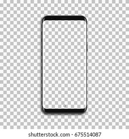 Black phone mock up with blank screen on transparent background.