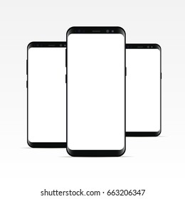 Black phone Samsung Galaxy S8 with blank screen isolated. Three responsive screens mockups to showcase your app or mobile web site design. Vector illustration