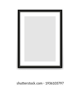 Black photo frame template. Blank rectangular vertical banner with empty gray center realistic design for picture and promotional vector image.