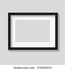 Black photo or picture frame with white mat and shades isolated on gray background. Vector illustration. Wall decor. Rectangle horizontal photo frame