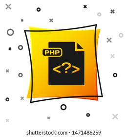 Black PHP file document. Download php button icon isolated on white background. PHP file symbol. Yellow square button. Vector Illustration