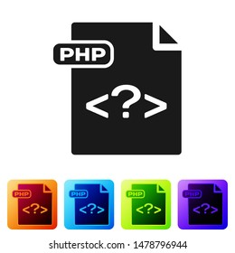 Black PHP file document. Download php button icon isolated on white background. PHP file symbol. Set icons in color square buttons. Vector Illustration