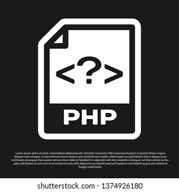 Black PHP file document icon. Download php button icon isolated on black background. PHP file symbol. Vector Illustration