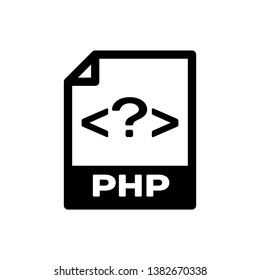 Black PHP file document icon. Download php button icon isolated. PHP file symbol. Vector Illustration