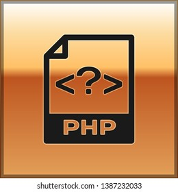 Black PHP file document icon. Download php button icon isolated on gold background. PHP file symbol. Vector Illustration