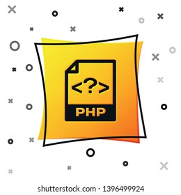 Black PHP file document icon. Download php button icon isolated on white background. PHP file symbol. Yellow square button. Vector Illustration