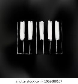 Black piano art - hand made piano keys illustration