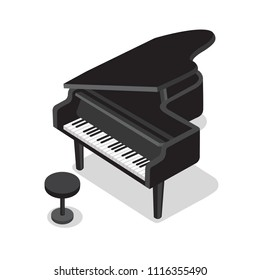 Black piano and black stool on white background. Classical piano musical instrument. Cute flat cartoon style. Vector piano illustration
