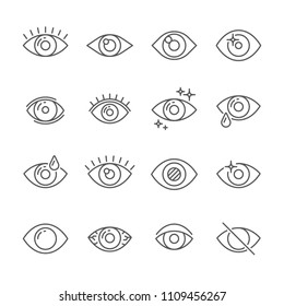 Black pictogram of eyesight or looking eye line icons. Eyeball, watch bright light and human eyes with ophthalmic lenses outline simple pictograms vector isolated icon collection on white background