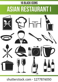 Black pictograms / icons on the restaurant. This icon set is perfect for creative people and designers who need the food theme in their graphic designs.