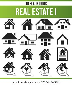 Black pictograms / icons on the subject property. This icon set is perfect for creative people and designers who need the real estate aspect in their graphic designs.