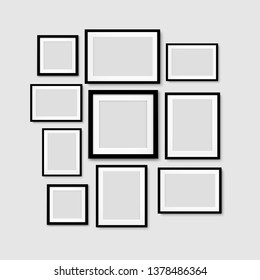 Black Picture Frame Isolated Background With Gradient Mesh, Vector Illustration
