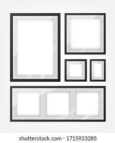 Black picture frame set illustration