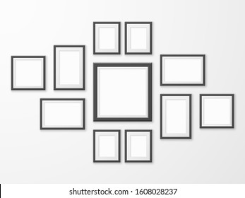 Black picture frames. Realistic empty image frame in different size and shape. Mockups for museum gallery, photo hanging wood borders with shadow vector set