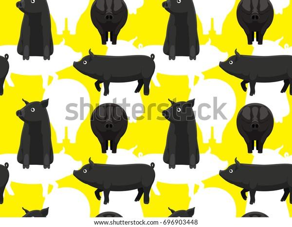 Black Pig Mulefoot Cartoon Seamless Wallpaper Stock Vector