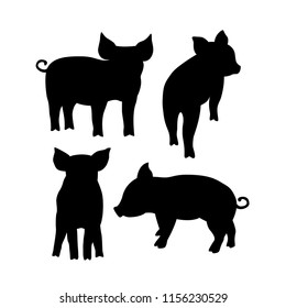 Black pig silhouette. Vector illustration for your cute design.