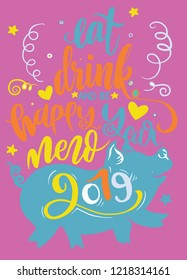 Black pig silhouette with white Happy New Year lettering inside, greeting card element isolated on  background