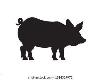 Black piglet silhouette. Vector illustration of a domestic pig. Pork sticker.