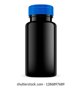 Black Pill Bottle with Blue Cap. Round Tablet, Capsule, Vitamin Jar. Glass or Plastic Medicine Container for Supplement, Remedy, Medicament. Isolated Pharmaceutical Can Packaging Mockup.