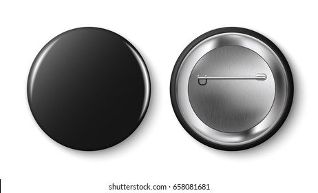 Black pin button, vector.