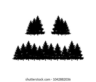 Black Pine Tree Forest Symbol Silhouette Logo Vector