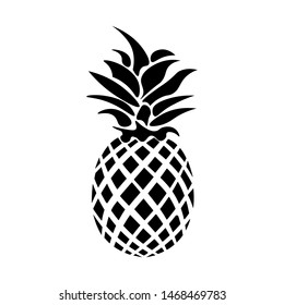 Black Pineapple Icon Isolated Tropical Sweet Organic Fruit Vector Illustration