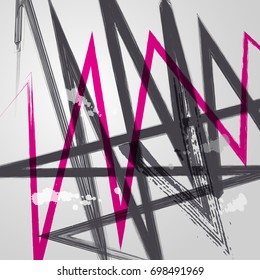 Black and pink abstract vector backgrounds. Design industry for posters, placards, banners, flyers, covers templates. Hand drawn vector illustration.