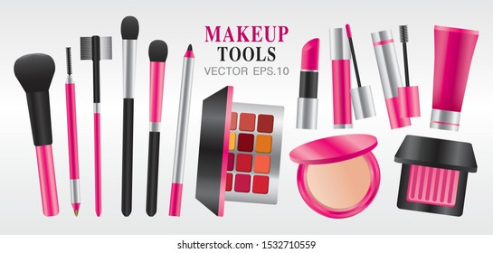 black and pink color theme makeup tools vector.