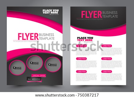 Black Pink Flyer Template Design Brochure Stock Vector Royalty Free
