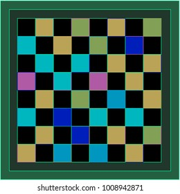Black, Pink, Orange and Blue Chessboard with Green Border