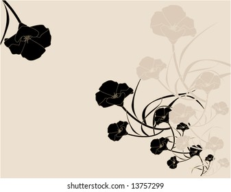Black pink poppy background 4