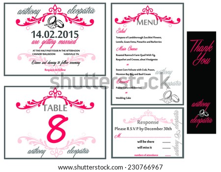 Black Pink Wedding Invitation Card Set Stock Vector Royalty Free